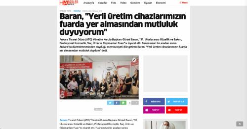 <p>27.09.2019<p>www.haberlerankara.com<p>BARAN, ''YERLİ ÜRETİM CİHAZLARIMIZIN FUARDA YER ALMASINDAN MUTLULUK DUYUYORUM''